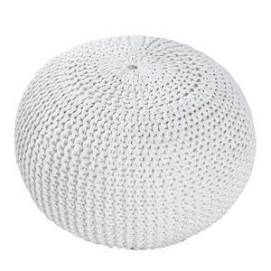 Design Strick Pouf LEEDS weiß 50cm Hocker Baumwolle in Handarbeit Sitzkissen Fußhocker Sitzpouf
