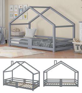 Kinderbett Hausbett aus Kiefer Holz 90 x 200 cm mit Rausfallschutz Stabiles Haus Bett für Mädchen & Jungen, Grau