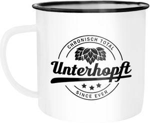 Emaille Tasse Becher Bier Spruch Chronisch Total Unterhopft Kaffeetasse Campingtasse Festival Moonworks® weiß-schwarz unisize