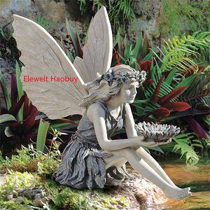 Garten Ornament Fee, Sitzende Magische Elfen Statue Gartenfiguren mit Sonnenblumendekoration, Feenfigur Dekoration für Zuhause, Patio, Hof