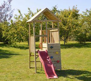 Wendi Toys Kinderspielturm Hase 1,1x2,6 m natur inkl. Rutsche und Kletterwand