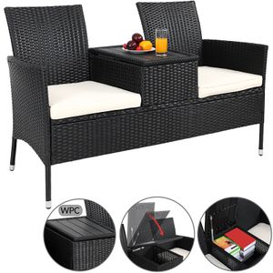 Deuba® Gartenbank Poly Rattan WPC Tischplatte wasserabweisend Gartensofa Kinobank Bank Garten Möbel 2 Sitzer