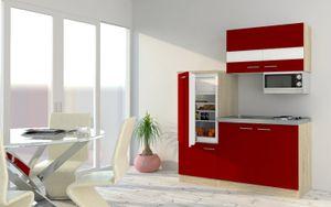 respekta Küchenzeile Küche Singleküche Einbau Küchenblock 160 cm Eiche rot