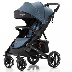 Daliya® Rapidy Buggy / Kinderwagen 0-36 Monate / Sportwagen mit Liegeposition / Wickeltasche, Winterfußsack, Ess- & Spieltisch und mehr Linen Blau – Schwarz