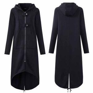 Damen Übergangsjacke Mantel mit Kapuze Jacke Warm Jacken Winterjacken Größe: XXL, Farbe: Schwarz