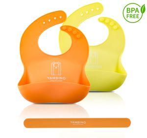 2er Set Babylätzchen mit Haltegurt 30x22cm - BPA-frei weiches Lätzchen Silikon Auffangschale - Kleckerfrei Essen mit Lätzchen Wasserdicht - einfache Reinigung, spülmaschinenfest YAMBINO® (Orange/Gelb)