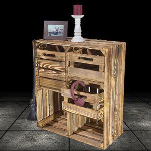 Geflammter Hochschrank + 3 Schubladen 77x68x35cm aus Obstkisten Weinkisten