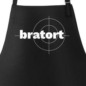 Bratort Grill-Schürze für Männer mit Parodie-Motiv Küchen-Schürze Moonworks® schwarz unisize