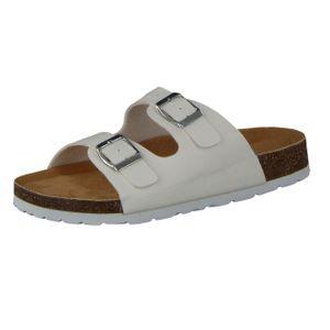 CAMPRELLA Damen Tieffußbett Pantolette Sandalen 2-Schnaller, Weiß, Größe:38, Farbe:Weiß