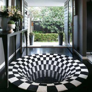 3D-Teppich, dreidimensionales dreidimensionales Schwarz-Weiß-Sichtkissen, Wohnzimmer-Fußmatte, Couchtisch, Sofa, Illusionsteppich