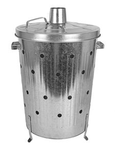Verbrennungstonne 75 L - verzinkt - Maße ca. 47 x 74 cm