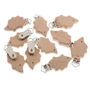 10 Holz Schnuller Clips Halter Baby Zahnen Perle Hosenträger Clips Igel Schnullerclips 4,8 x 3 cm