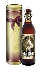 FKK-Bier 1 Liter Flasche mit Bügelverschluss (mit Geschenkedose im Schleifendesign)