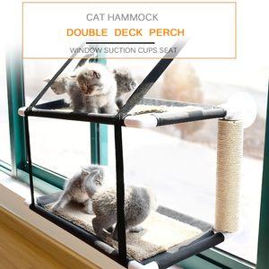 Katze Fenster Barsch Haengematte Bett Double Deck Fenster Saugnapf Sitz Katze Regale Sonnenbad Haengematte Bett fuer Katze halten bis zu 20 kg 44lbs