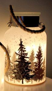TP Dekoglas Winter Weihnachten Windlicht LED Beleuchtung 24cm