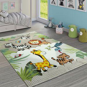 Kinderteppich Kinderzimmer Dschungel Tiere Giraffe Löwe Affe Zebra Beige Creme, Grösse:80x150 cm
