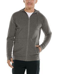 Coolibar - UV Kapuzenshirt mit Reißverschluss für Herren - LumaLeo Zip-Up - Antrazit, XL