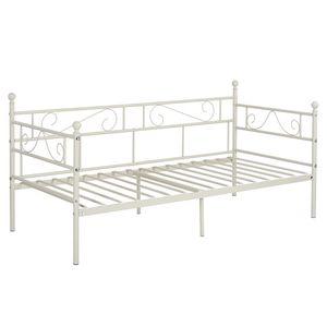 IPOTIUS Tagesbett Bettsofa Schlafsofa Einzelbett Metallbett Jugendbett Kinderbett Gästebett Bett Sofa 90x190cm Weiß