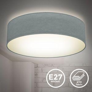Deckenlampe Stoffdeckenleuchte Deckenleuchte Bürolampe Textilschirm E27 2-Flammig Ø38cm Weiß ohne Leuchtmittel B.K.Licht