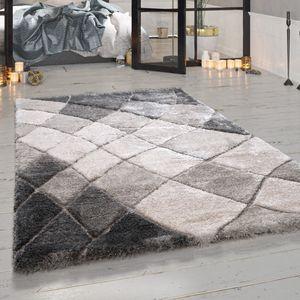 Teppich Hochflor Wohnzimmer Grau Geschwungenes Rauten Muster Flauschig Weich, Grösse:160x230 cm