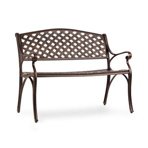 Blumfeldt Pozzilli AN Gartenbank - Material: Aluminiumguss , witterungsbeständig , Platz für 2 Personen , separat erhältliches Sitzkissen , antik-Kupfer