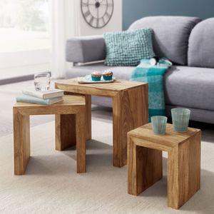 WOHNLING 3er Set Satztisch MUMBAI Massiv-Holz Akazie Wohnzimmer-Tisch Landhaus-Stil Beistelltisch dunkel-braun Naturholz