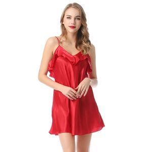 Sexy Frauen Sling Pyjamas Kleid V-Ausschnitt Rueckenfreie Rueschen Einfarbige Satin Nachtwaesche Nachtwaesche¡ª¡ªXL