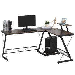 HOMCOM Computertisch, Eckschreibtisch, Schreibtisch, Bürotisch, Spanplatte+Metall, Vintagebraun-Schwarz, 155 x 115 x 91,5 cm
