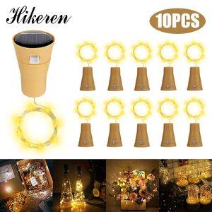 Hikeren 10 Pack LED Solar Wein Flasche Lichter,Lichterketten, 1 Meter 10 Lichter Cork Shaped Light Für Flasche DIY/Hochzeit/ Festivals