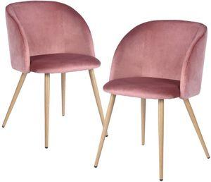 H.J WeDoo 2er Set Vintager Retro Stuhl Polstersessel Samt Lounge Sessel Clubsessel Fernsehsessel Rosa