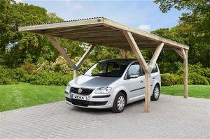 Weka Y-Flachdach Carport / Einzelcarport 612 kdi PVC Dach 306x606cm