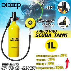 DIDEEP 1L Sauerstoffflasche Tauchen Scuba Diving Mini Tauchflasche Tragbare Tauchausrüstung Taucherausrüstung Set Taucher Ausrüstung Hochdruck Luftpumpe Tauchen Unterwasse