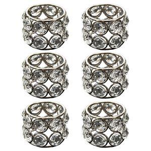 Set von 6 Kristall Serviettenhalter Ringe für Hochzeitsfest Dekorative Kunsthandwerk 5x4cm Silber- Serviettenring Perlen
