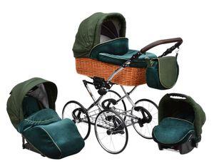 """Lux4Kids Retro Kinderwagen Nature One Pro Pannefrei 27 """" Speichenräder Weidekorb  Racing Green 02 2in1 ohne Babyschale"""