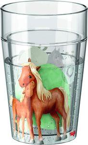 Haba glitzerbecher Horses junior 340 ml transparent
