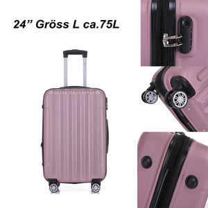 Reise Koffer Hartschalenkoffer Trolley Reisekoffer L Pink 4 Rollen Roll-Koffer Handgepäck