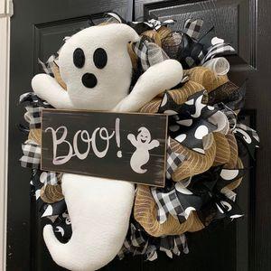 Halloween Türkranz Wandkranz Hängender Kranz Dekokranz Geister Kranz Halloween Dekoration
