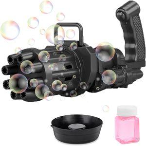 Schwarz,Gatling Model Porous Seifenblasenmaschine,Bubble Guns Automatische Bubble Machine,8-Loch-Bubble Maker mit Großer Menge