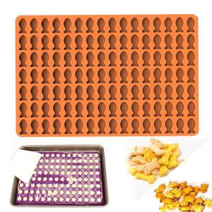 Antihaftbeschichtet Backform Halbkugel für Hundekekse Hundeleckerlies aus Silikon Hitzebeständig 230°C Backmatte 120 Raster Orange