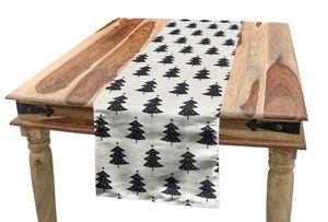 ABAKUHAUS Weihnachten Tischläufer, Tannenbaum Silhouette, Esszimmer Küche Rechteckiger Dekorativer Tischläufer, 40 x 180 cm, Anthrazit grau und Elfenbein