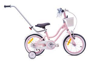 Rosa Mädchenfahrrad 14 Zoll Glocke Zusatzräder Schubstange