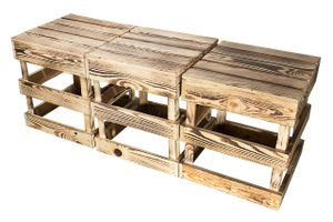 3er Set Stück Obstkisten-Online neuer geflammter/brauner Hocker aus Holz Pflanzenhocker Tisch Obstkiste Sitzhocker Braun Weinkiste