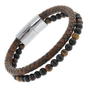 trendor 75877 Herren-Armband Leder Braun / Onyx / Tigerauge
