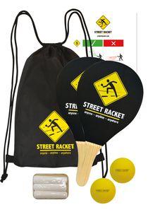 Schildkröt Street Racket Set, 2 Holzschläger, 2 Softbälle, Straßenmalkreide zur Spielfeldmarkierung, im Polyester-Carrybag