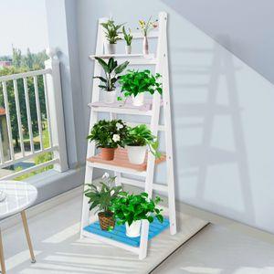 4 Stufen Blumenregal Pflanzenregal Lagerregal Pflanzentreppe Küchenregal Blumenleiter Standregal Weiß