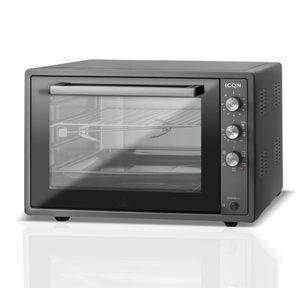 ICQN 60 Liter Mini-Öfen | 1800 W | Mini-Backofen mit Innenbeleuchtung und Umluft | Pizza-Ofen | Doppelverglasung | Drehspieß | Timer Funktion | Emailliert Black | Anthrazit