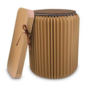 Navaris Design Hocker aus Papier faltbar - Akkordeon Sitz mit Auflage aus Filz - Karton Sitzhocker 42x36cm - Falthocker aus Pappe rund in Braun