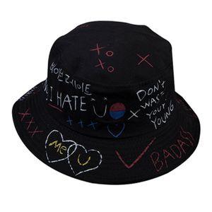 2er/Pack Mode Graffiti Faltbare Fischerhut Fischerhüte Bucket Hat Baumwolle Anglerhut Sonnenhut Zum Wandern Camping Reisen Angeln
