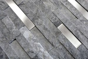 Handmuster Mosaik Fliese Marmor Naturstein Brick Splitface grau Edelstahl MOS40-3D25_m