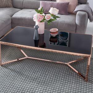 WOHNLING Design Couchtisch Glasplatte Schwarz / Gestell Kupfer 120 x 60 x 40 cm | Wohnzimmertisch verspiegelt Sofatisch modern | Glastisch Kaffeetisch eckig Loungetisch